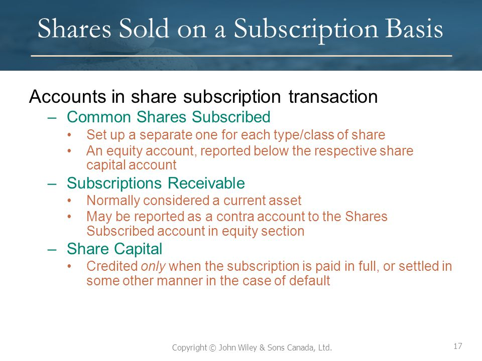 Shares Sold on a Subscription Basis