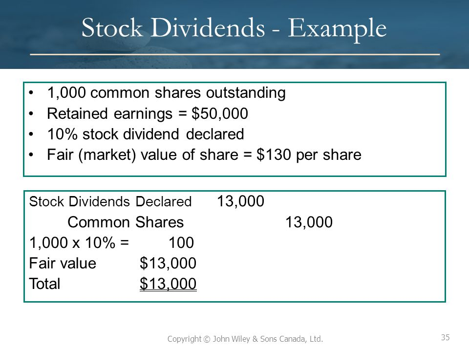 Stock Dividends - Example