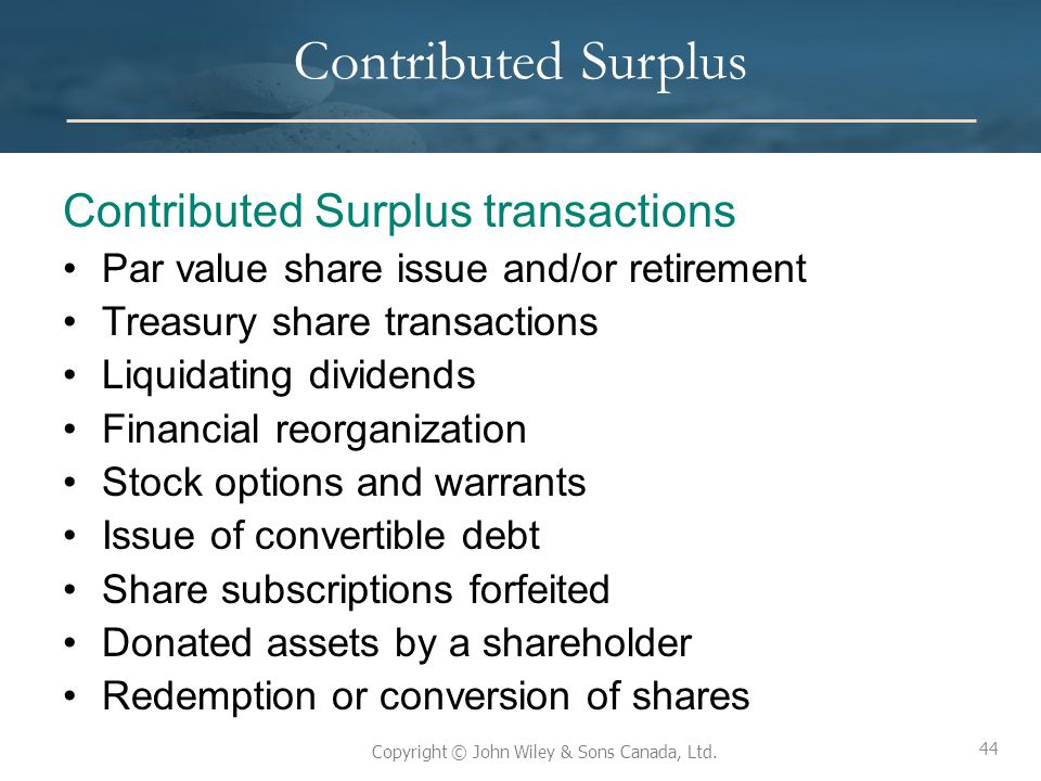 Contributed Surplus Contributed Surplus transactions