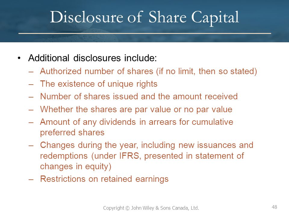 Disclosure of Share Capital