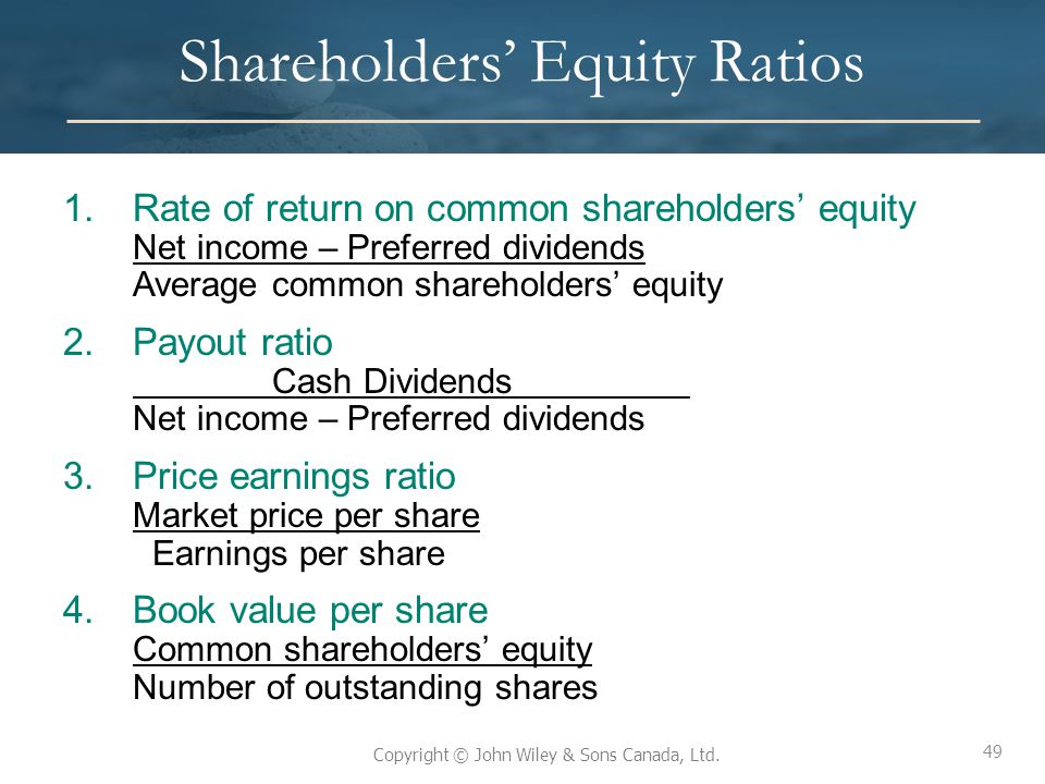 Shareholders' Equity Ratios