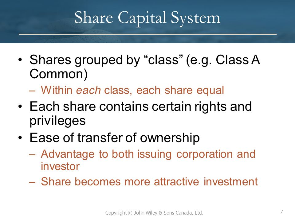 Share Capital System Shares grouped by class (e.g. Class A Common)
