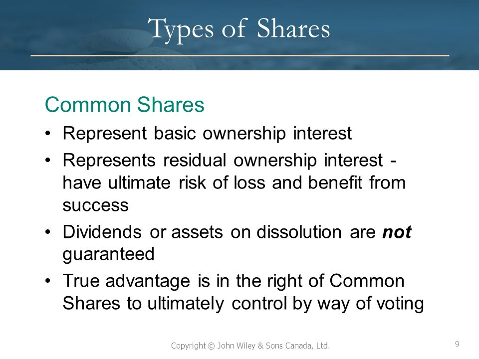 Types of Shares Common Shares Represent basic ownership interest