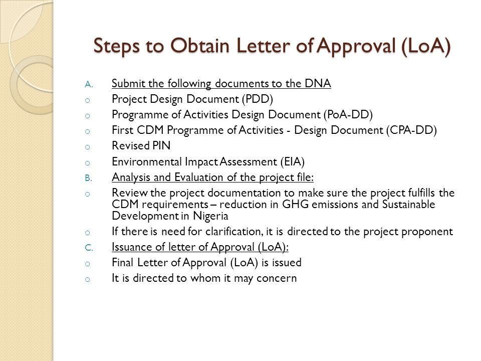 Steps to Obtain Letter of Approval (LoA)