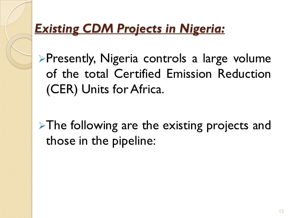 Existing CDM Projects in Nigeria: