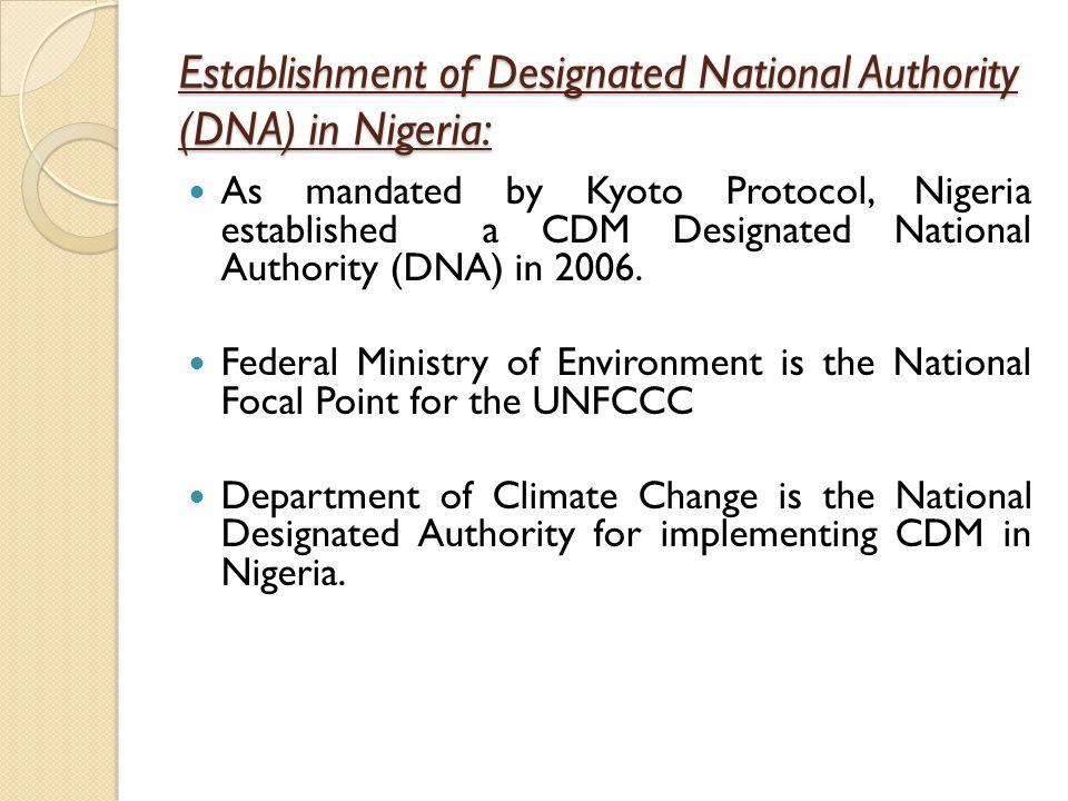 Establishment of Designated National Authority (DNA) in Nigeria: