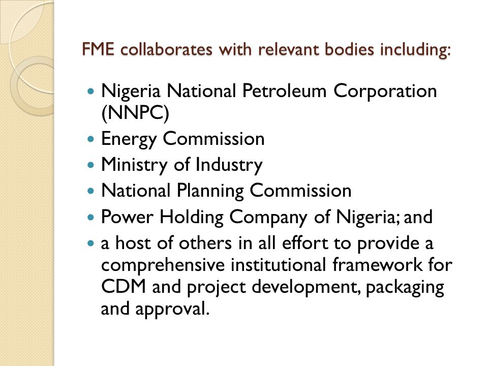 FME collaborates with relevant bodies including: