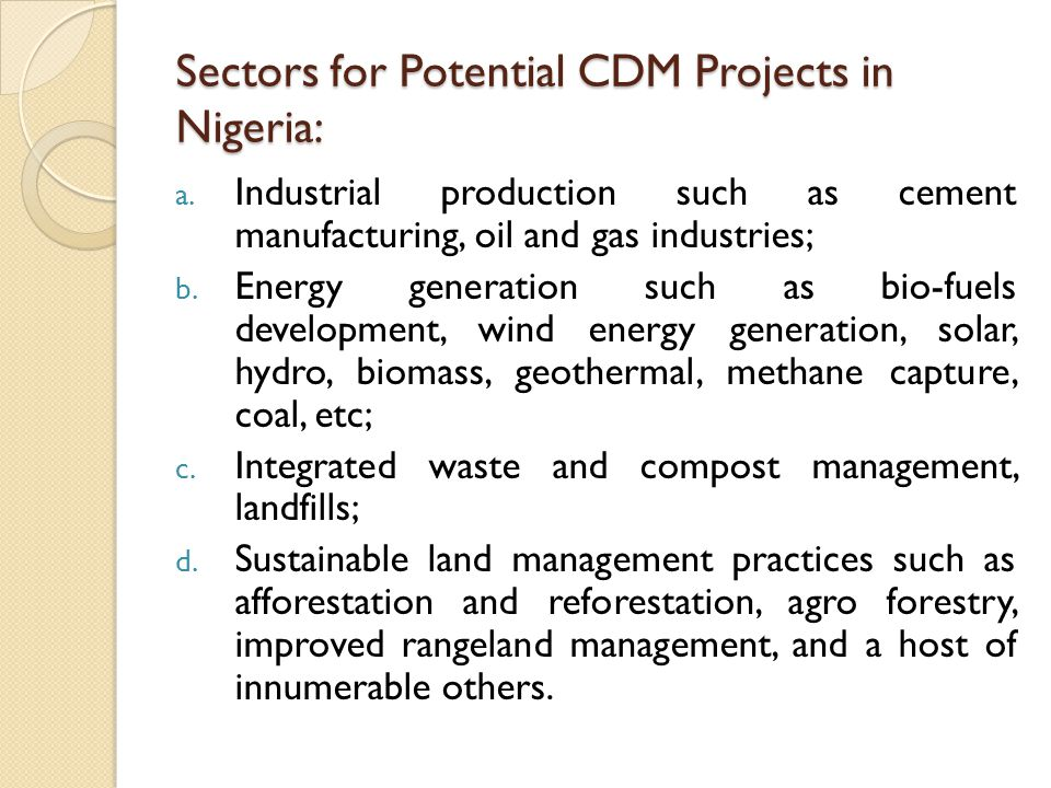 Sectors for Potential CDM Projects in Nigeria: