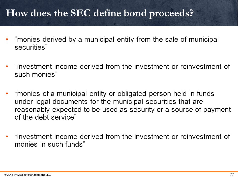 How does the SEC define bond proceeds