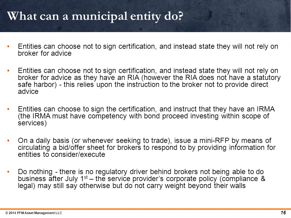 What can a municipal entity do