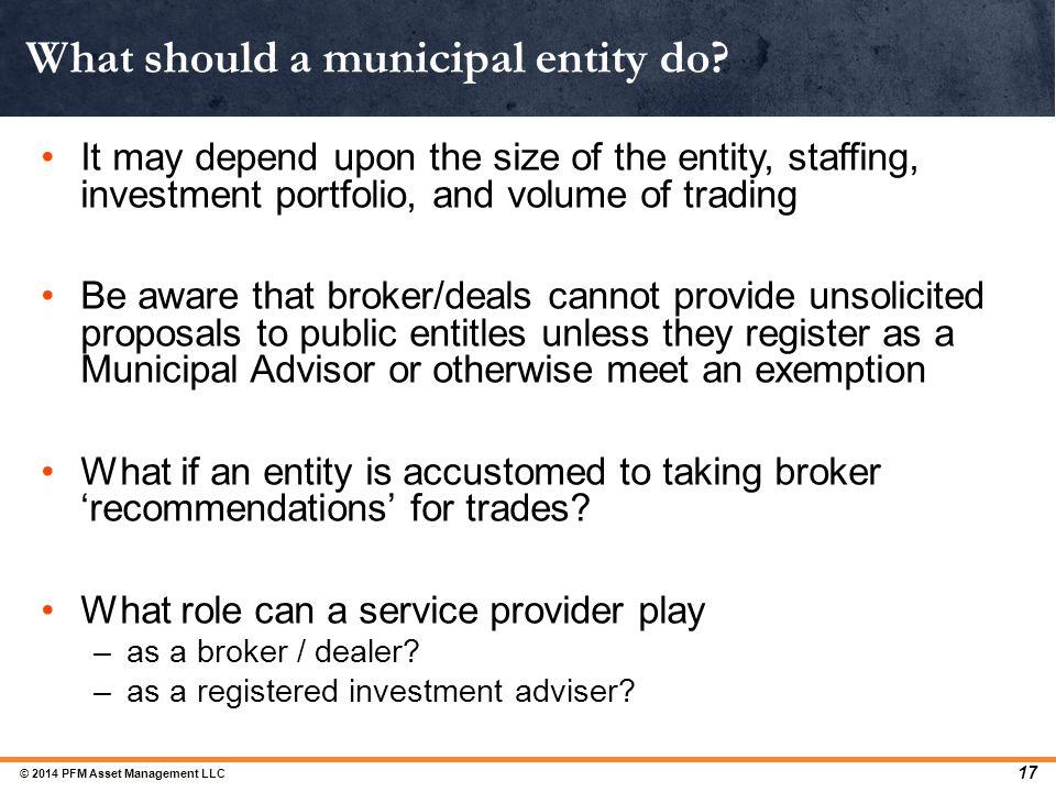 What should a municipal entity do