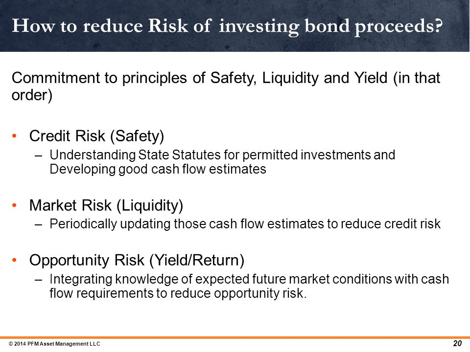 How to reduce Risk of investing bond proceeds