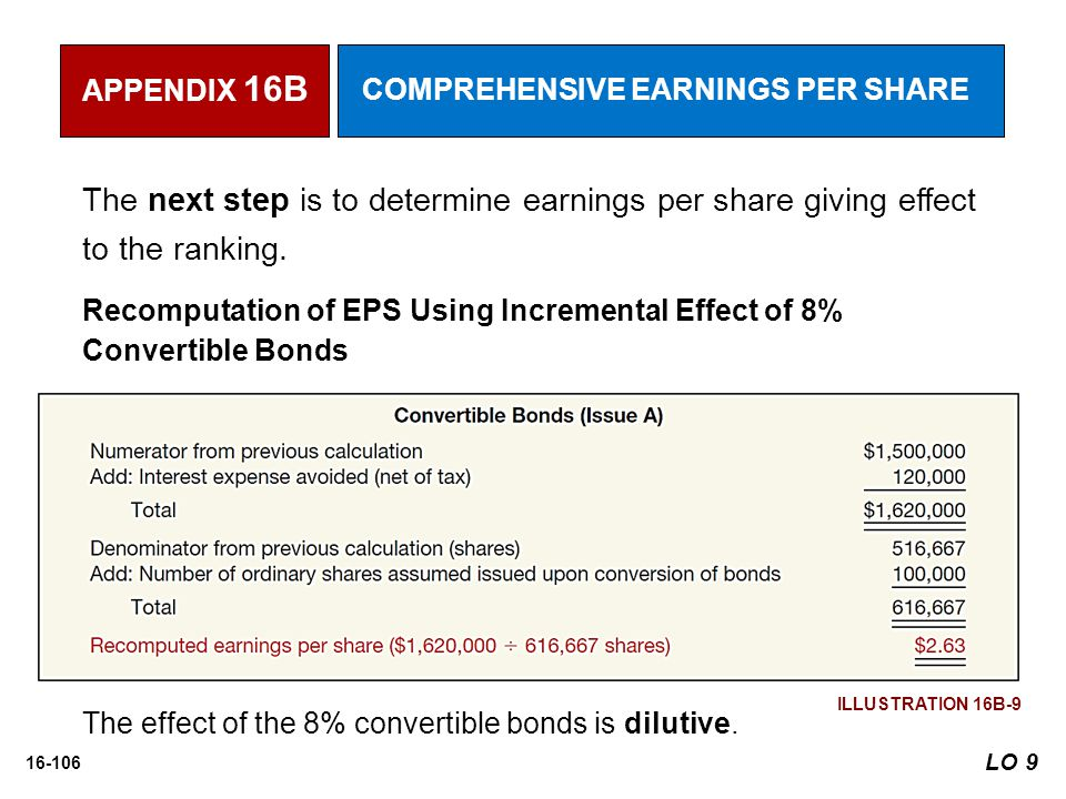 APPENDIX 16B COMPREHENSIVE EARNINGS PER SHARE. The next step is to determine earnings per share giving effect to the ranking.