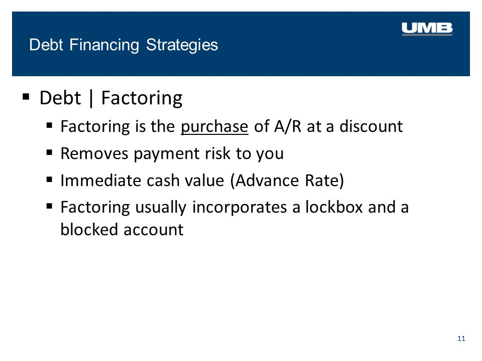 Debt | Factoring Factoring is the purchase of A/R at a discount