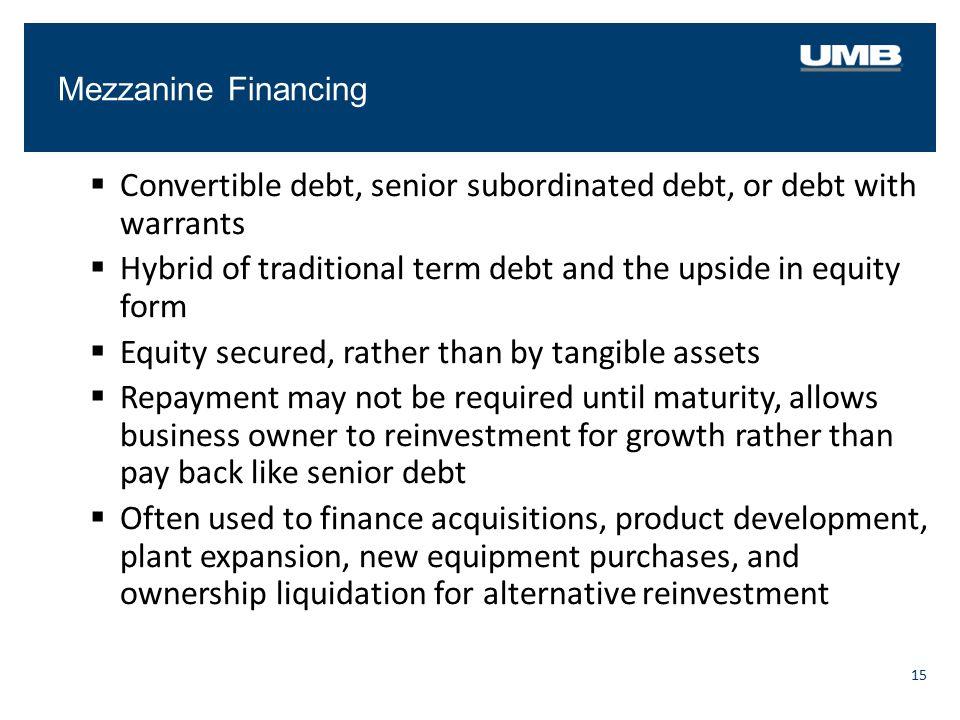 Convertible debt, senior subordinated debt, or debt with warrants
