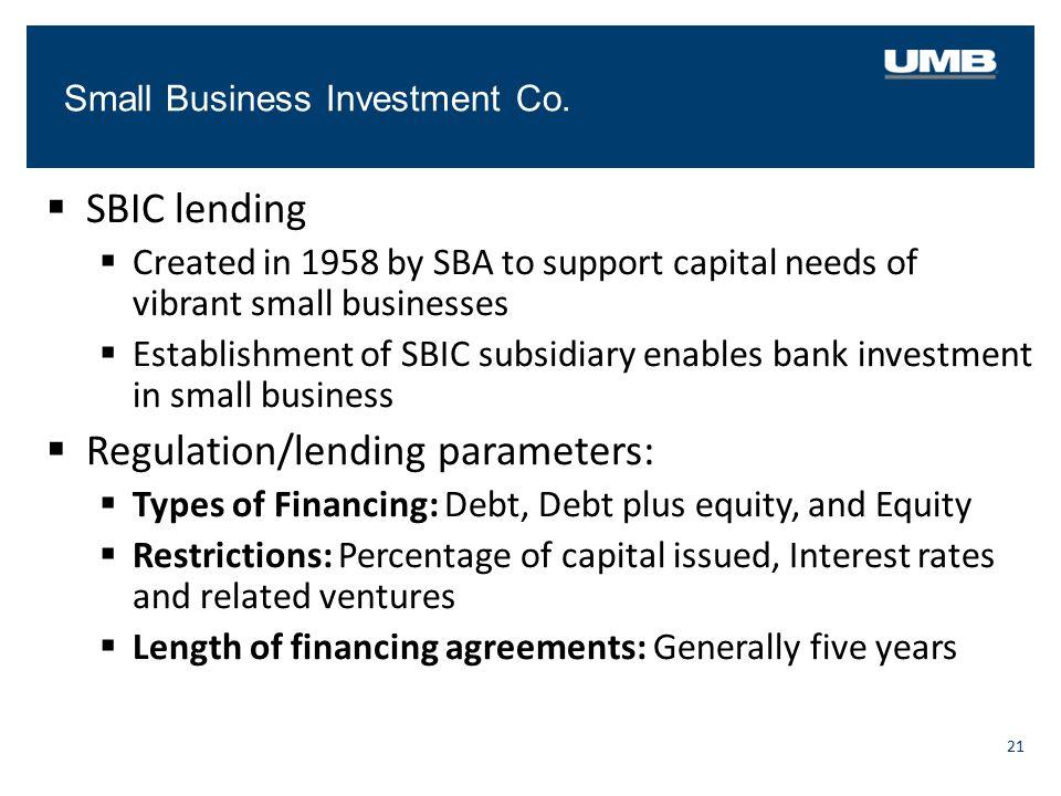 Regulation/lending parameters: