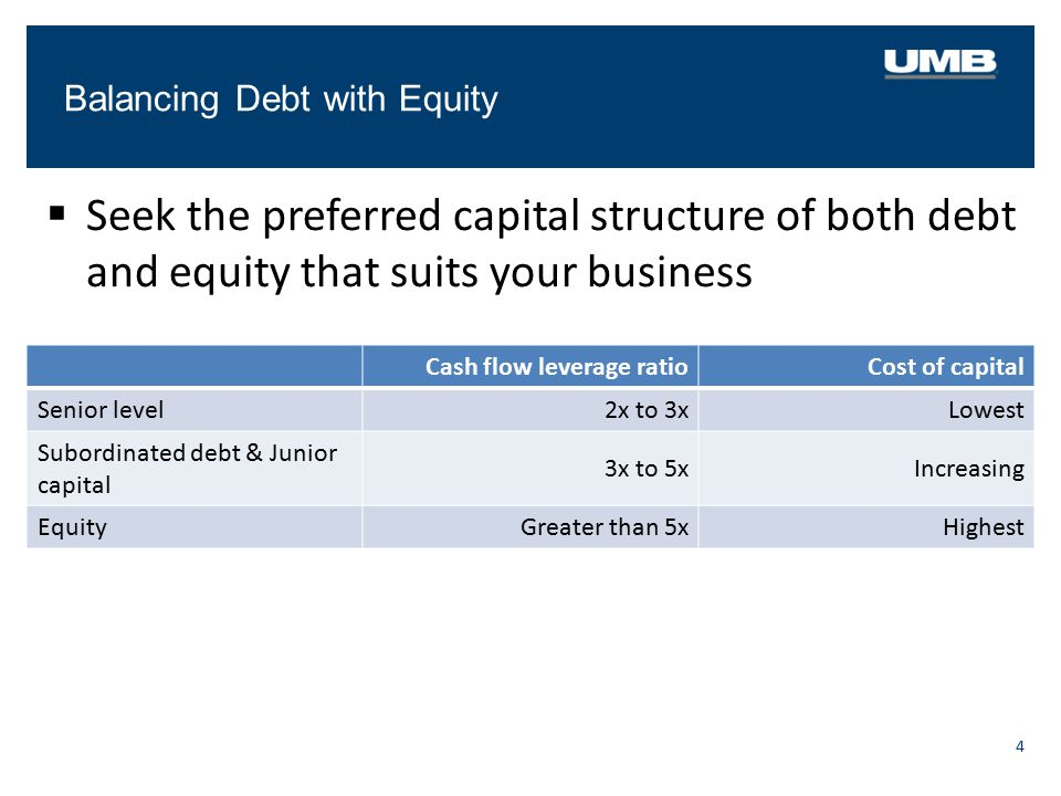 Balancing Debt with Equity