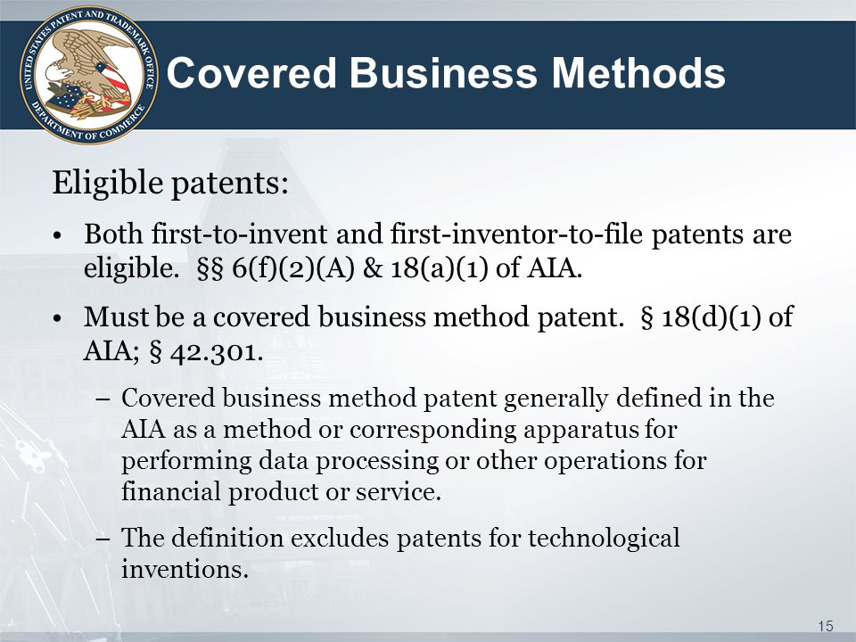 Covered Business Methods