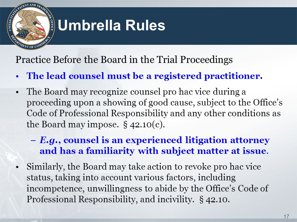 Umbrella Rules Practice Before the Board in the Trial Proceedings