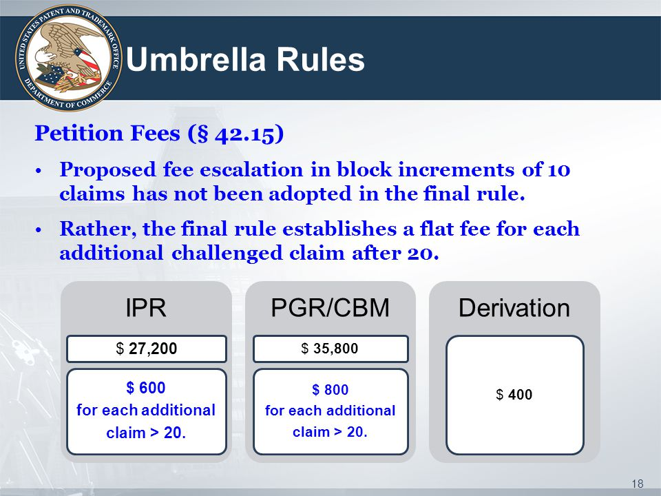 Umbrella Rules IPR PGR/CBM Derivation Petition Fees (§ 42.15)