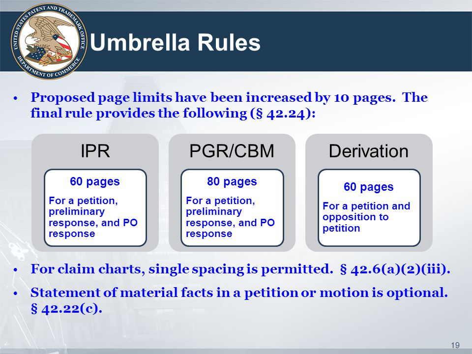 Umbrella Rules IPR PGR/CBM Derivation