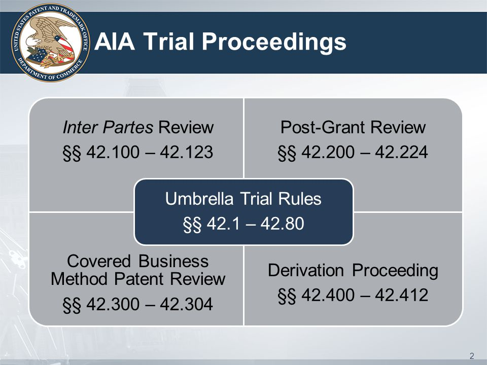 AIA Trial Proceedings Umbrella Trial Rules §§ 42.1 – 42.80