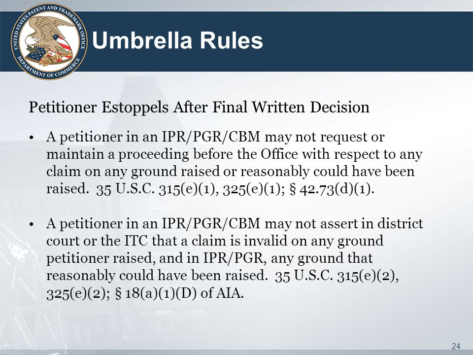 Umbrella Rules Petitioner Estoppels After Final Written Decision