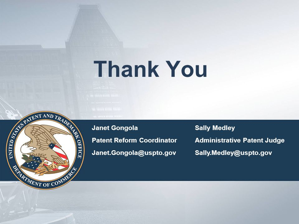 Thank You Janet Gongola Sally Medley Patent Reform Coordinator
