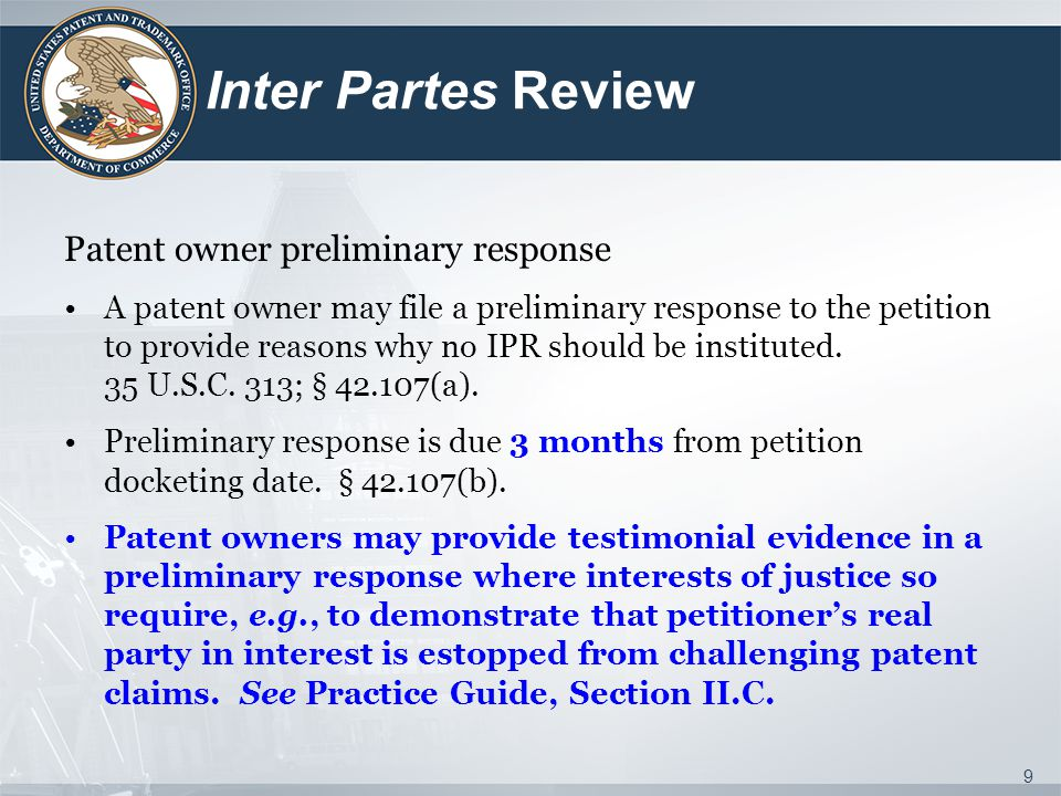 Inter Partes Review Patent owner preliminary response