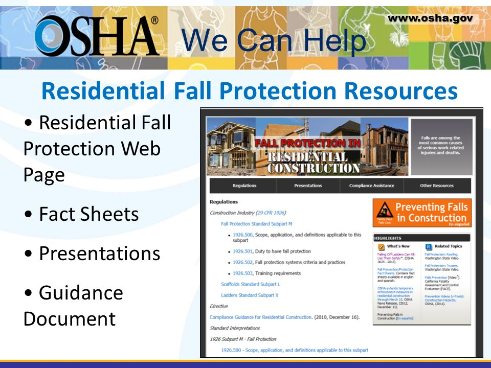 Residential Fall Protection Resources