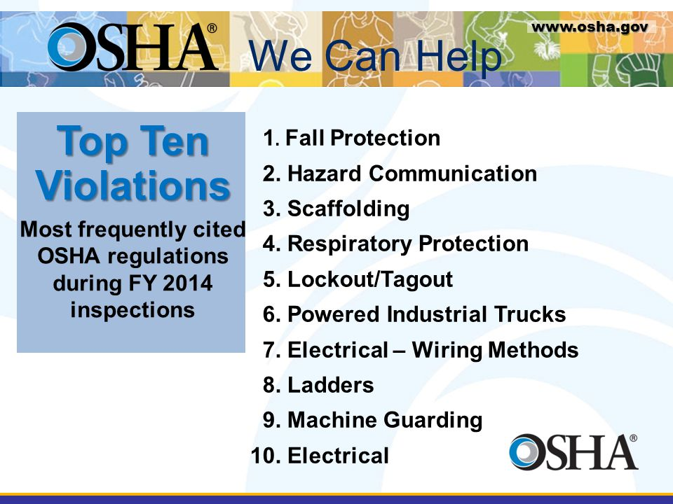 Most frequently cited OSHA regulations during FY 2014 inspections