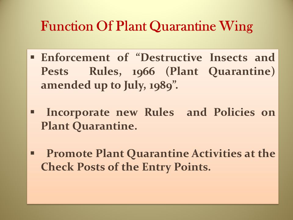 Function Of Plant Quarantine Wing