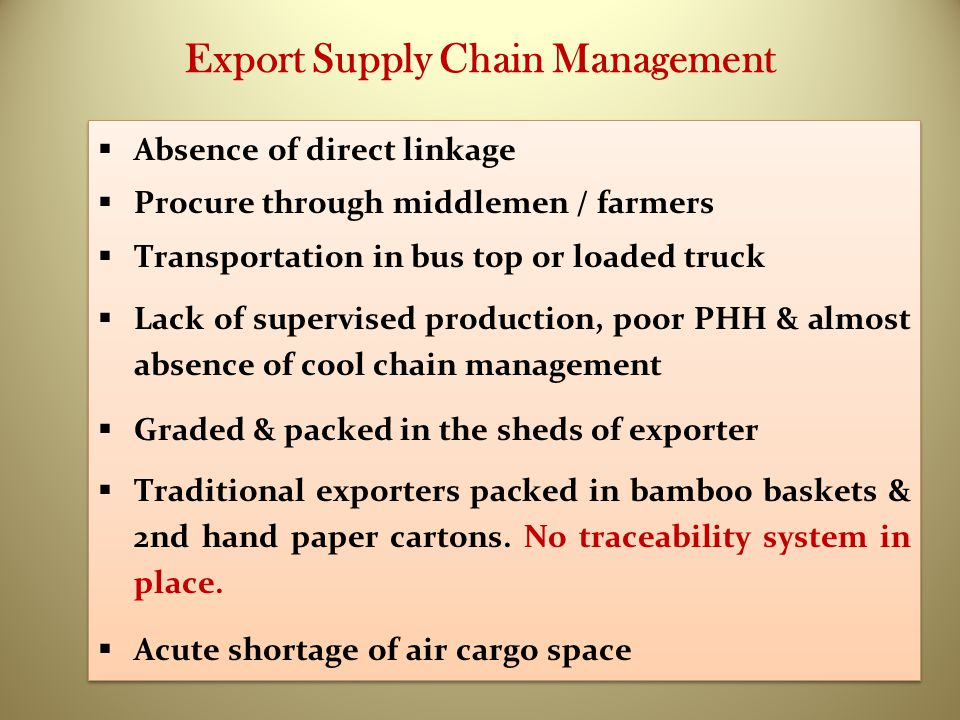 Export Supply Chain Management