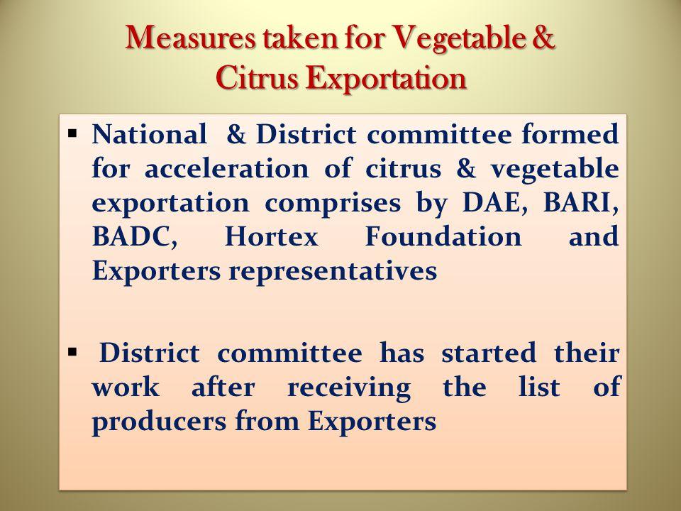 Measures taken for Vegetable & Citrus Exportation