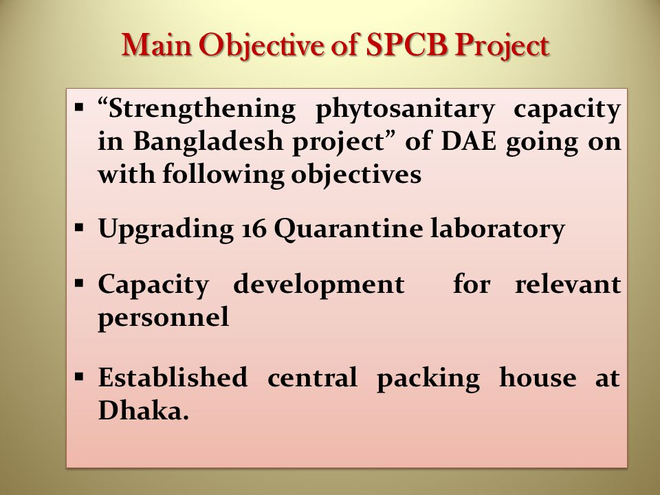 Main Objective of SPCB Project