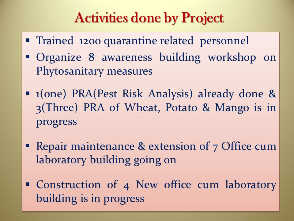 Activities done by Project