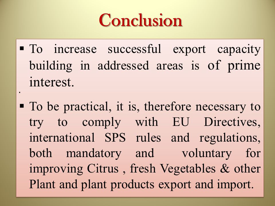 Conclusion To increase successful export capacity building in addressed areas is of prime interest.