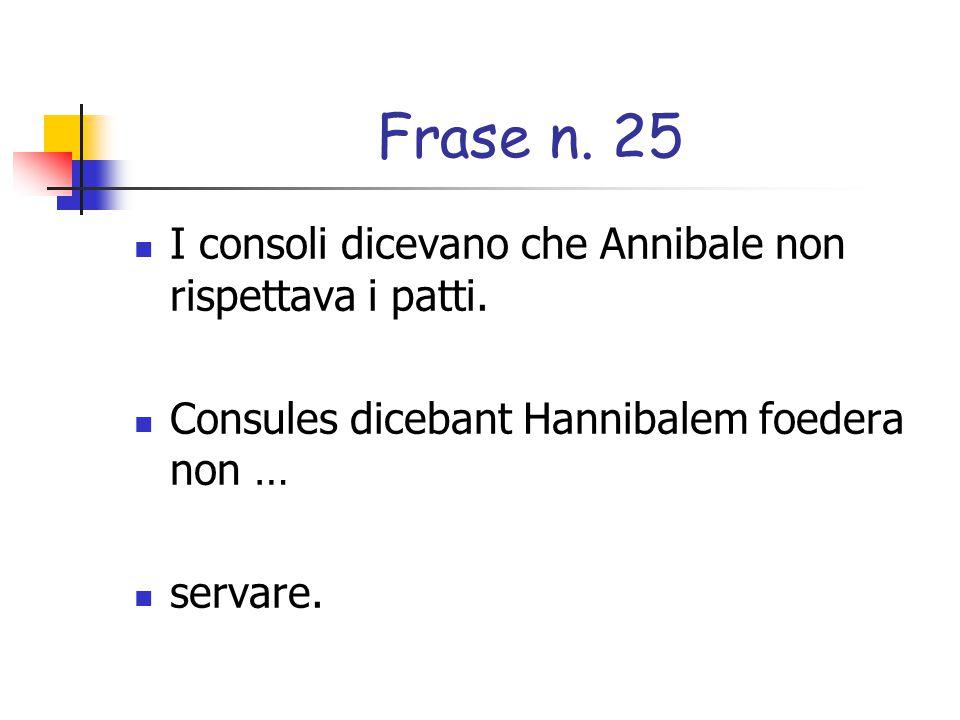 Frase n. 25 I consoli dicevano che Annibale non rispettava i patti.