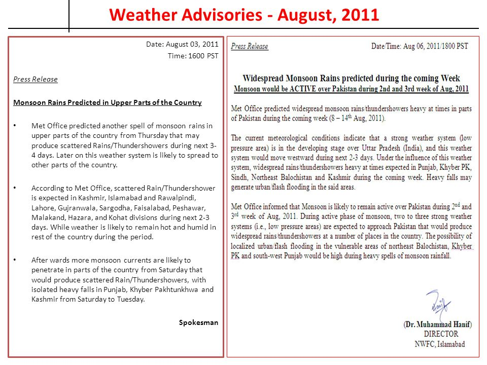 Weather Advisories - August, 2011