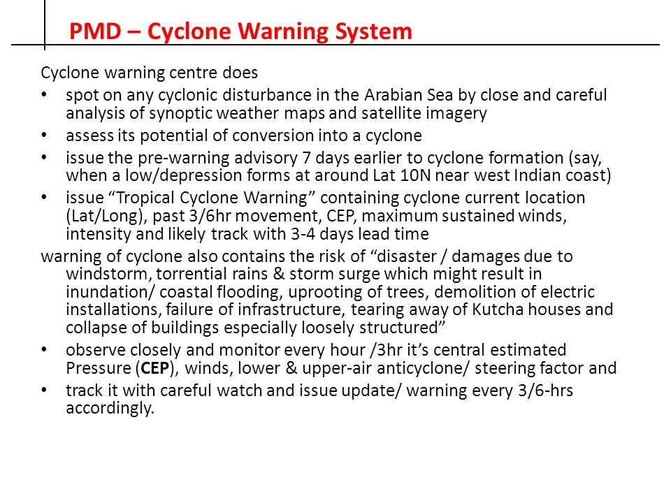 PMD – Cyclone Warning System