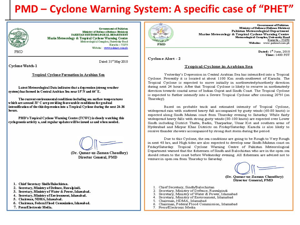 PMD – Cyclone Warning System: A specific case of PHET