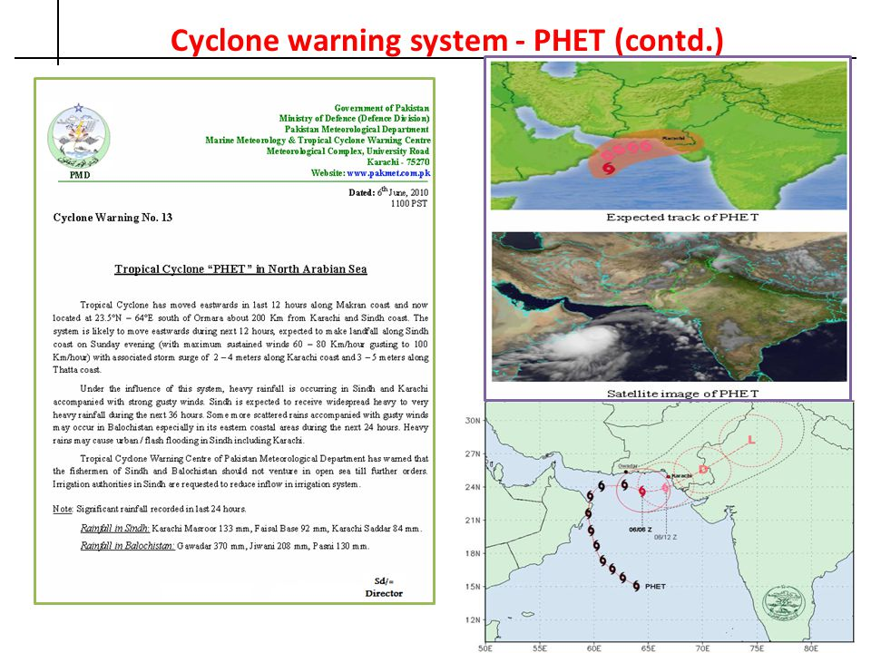 Cyclone warning system - PHET (contd.)