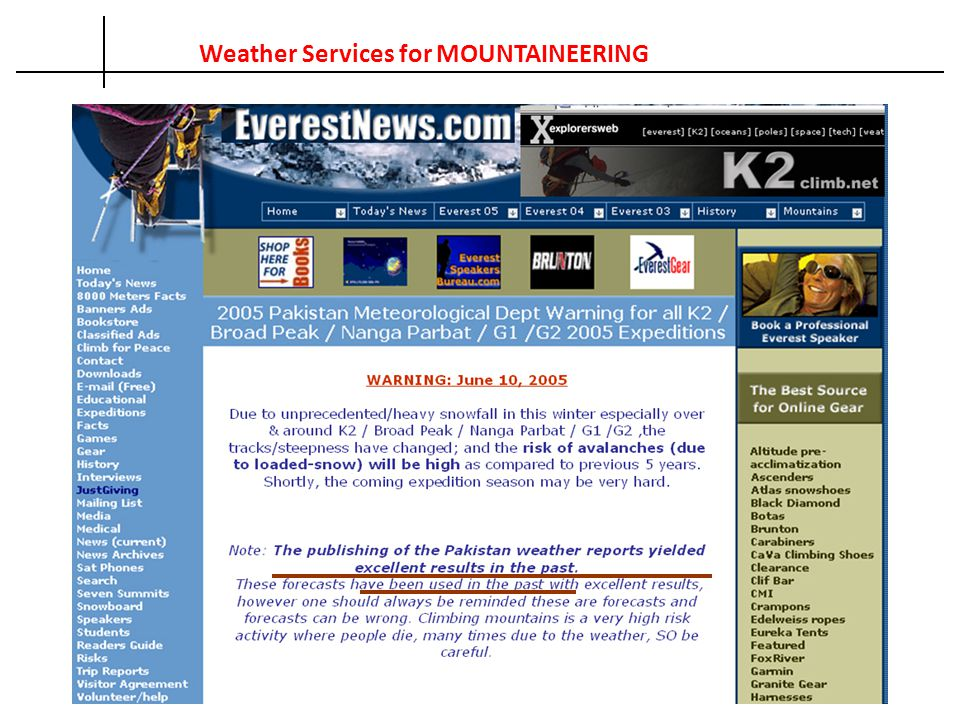 Weather Services for MOUNTAINEERING