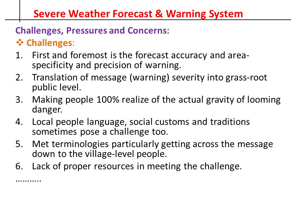 Severe Weather Forecast & Warning System