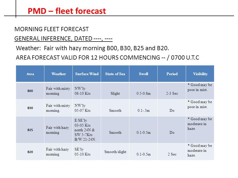 PMD – fleet forecast