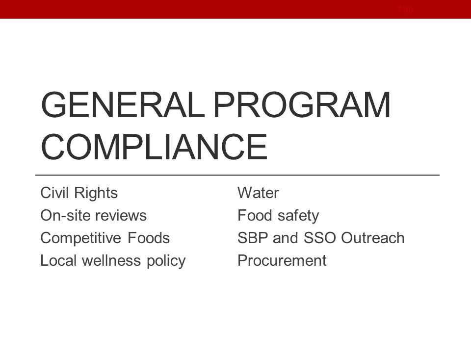 General Program Compliance