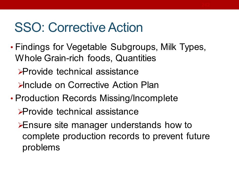 SSO: Corrective Action