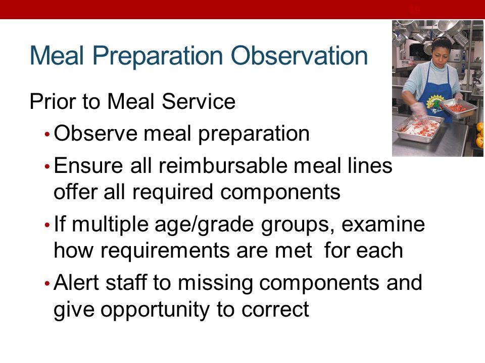 Meal Preparation Observation