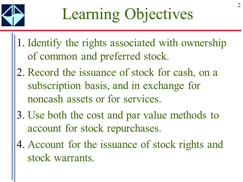 Learning Objectives 1. Identify the rights associated with ownership of common and preferred stock.