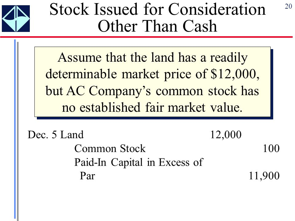 Stock Issued for Consideration Other Than Cash